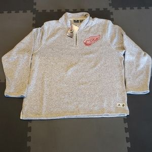 NWT ADIDAS DETROIT RED WINGS 1/4 ZIP SWEATER DN217
